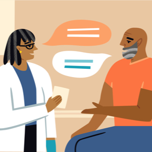 Doctor and patient talking in an exam room