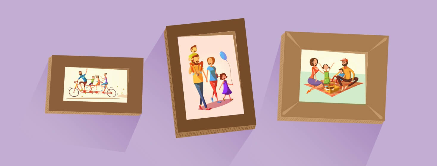 Framed family portraits on a wall.