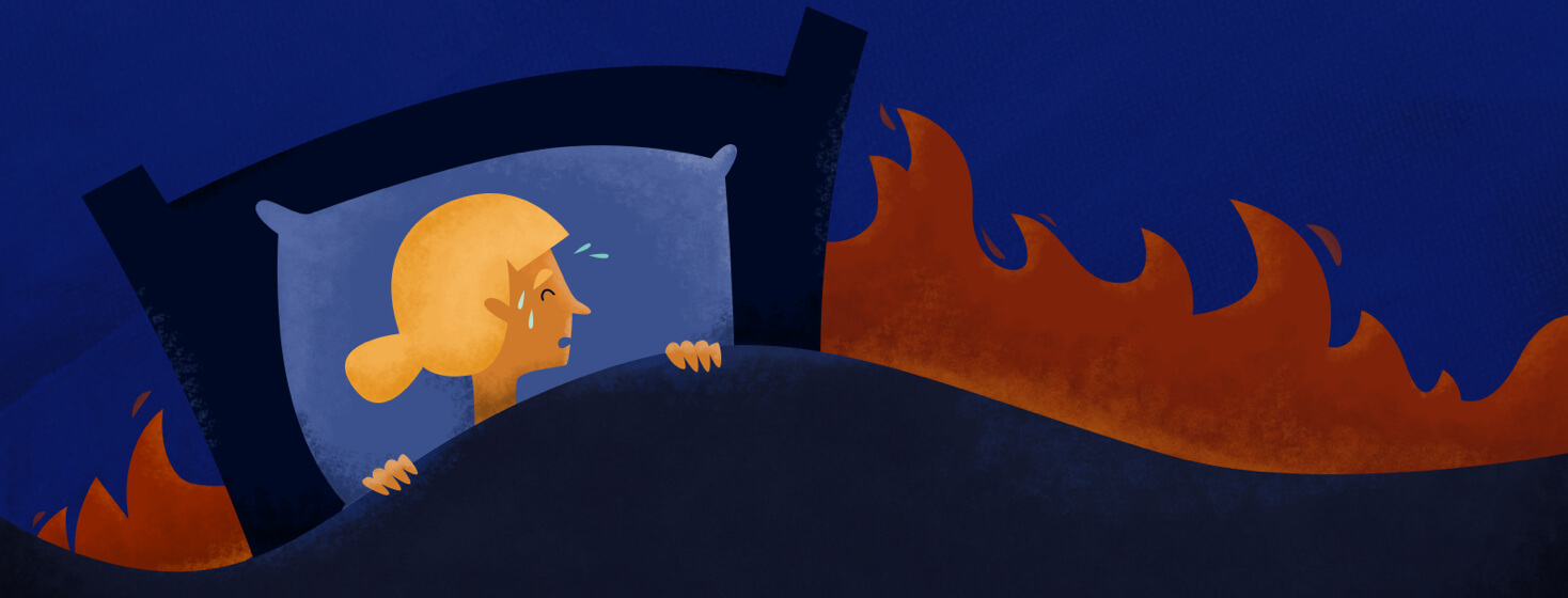 Image of distressed woman in bed with a flame behind her.