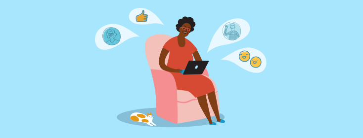 Image of woman sitting on a chair thinking about happiness, positivity, support, and Facebook likes (thumbs up).
