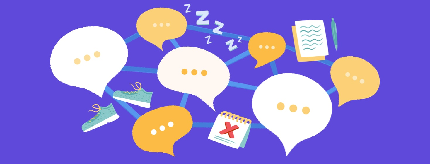 Network of speech bubbles and other icons representing community advice