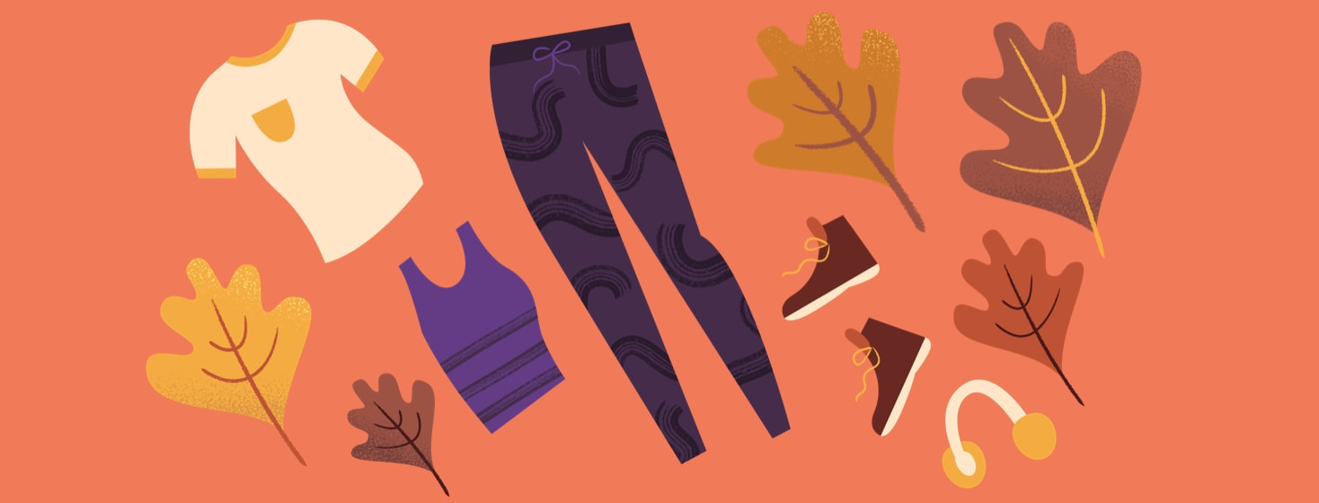 Fall clothing including boots, leggings, and ear muffs