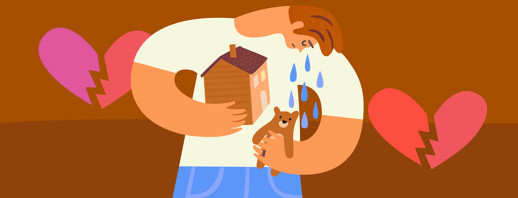 Man crying clutching a house and teddy bear representing his family and relationships with broken hearts in the background