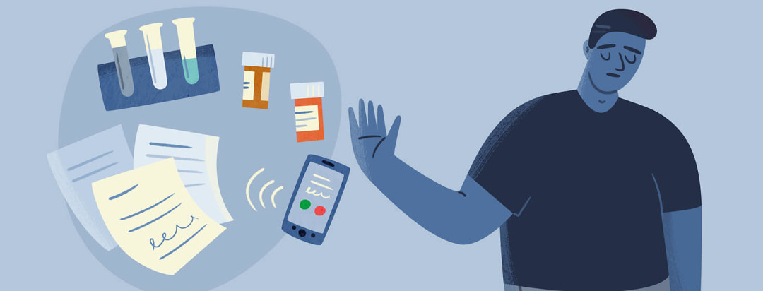 Apathetic man holding up a hand to push away a ringing phone, medication, paperwork, and lab work
