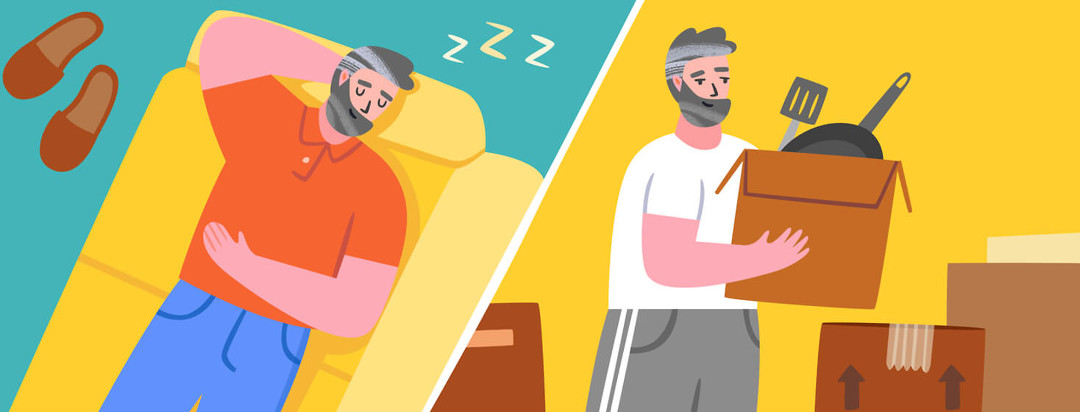 Man sleeping vs. man packing for a move