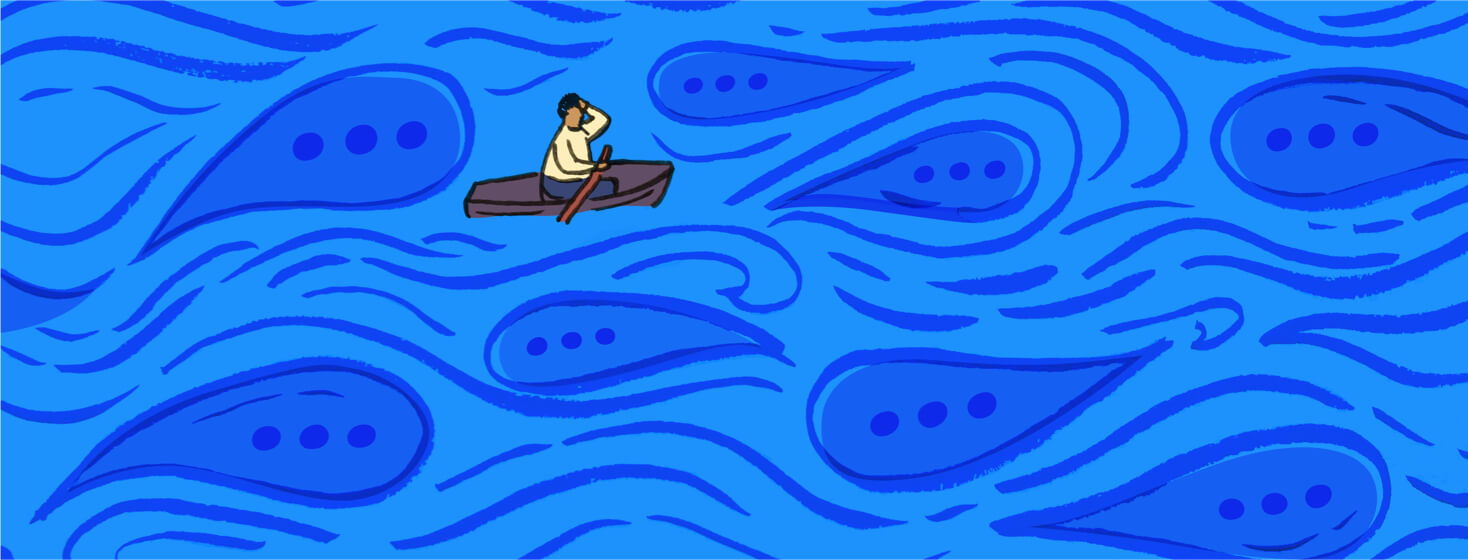Person in a boat afloat on a sea of conversation bubbles