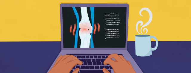 a person on their computer who is looking for credible health information about psoriatic arthritis online