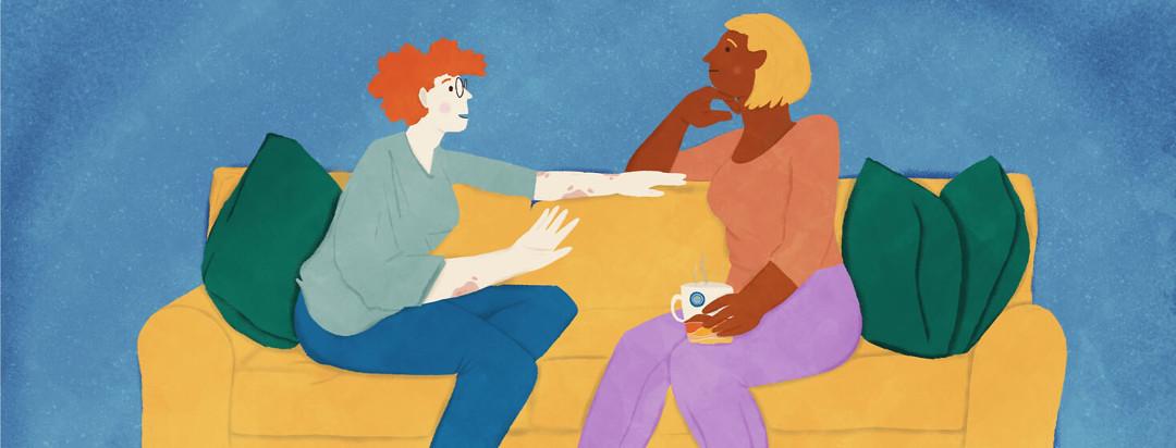 A woman explaining her psoriatic arthritis to a friend