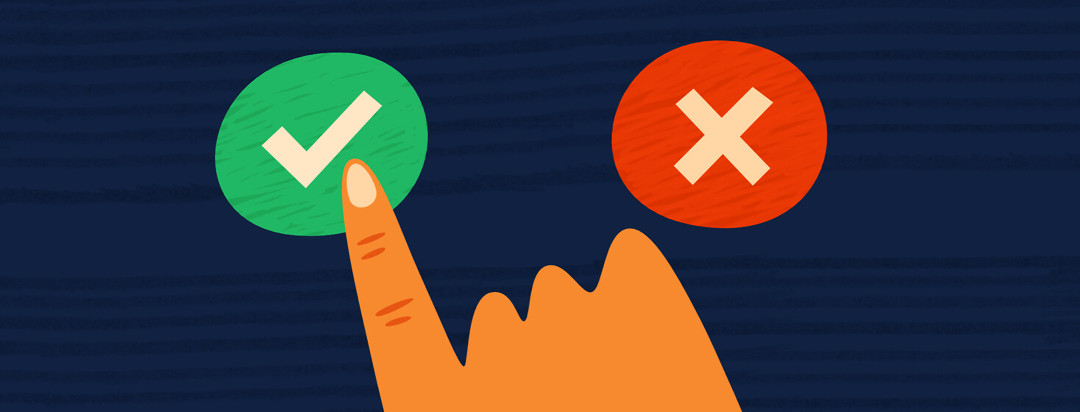 Hand passing over a button with an x symbol to click on a button with a check mark symbol