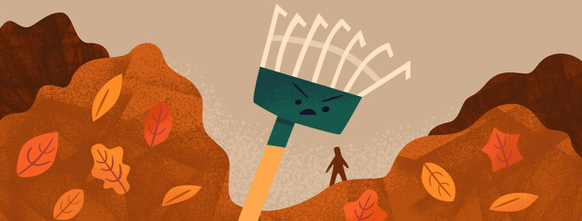 Menacing looking rake towering over a tiny figure surrounded by mounds of fallen leaves