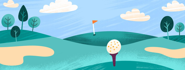 Golf ball on a tee with the hole far in the distance