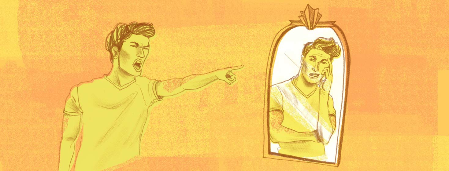 a man pointing and yelling at his reflection in the mirror, as the reflection has a look of disappointment