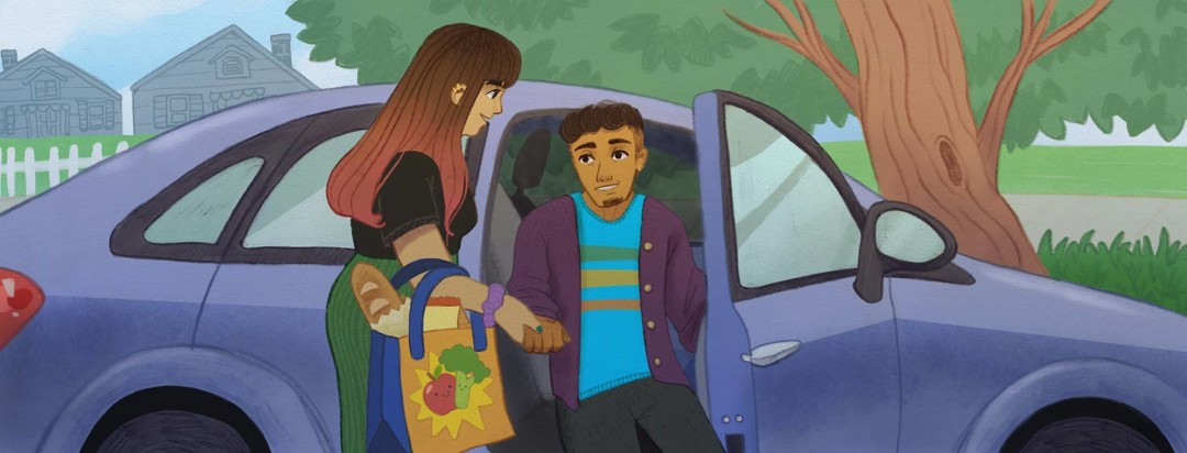 Adult female helping adult male with getting out of the car and groceries. POC, latinx.