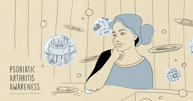 Psoriatic Awareness Month, woman daydreaming about coffee dates, appointments, and medication while standing at a kitchen sink with dirty dishes floating around her