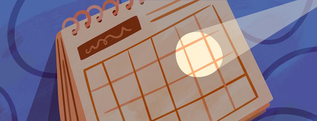 Calendar with a single day spotlighted
