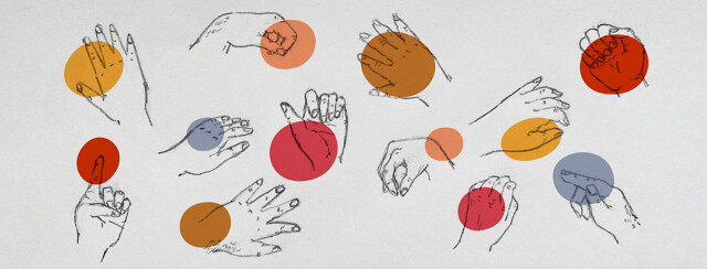 Various hands with different pain points highlighted