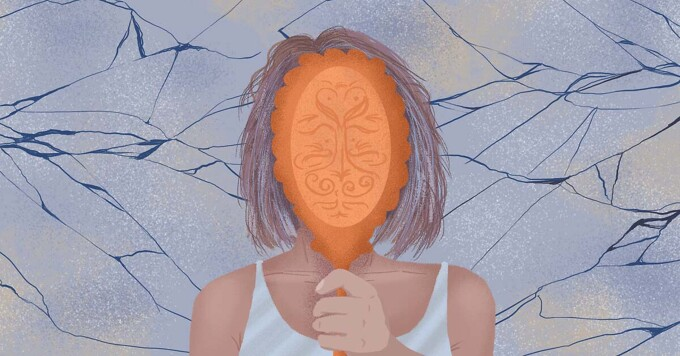 Woman holding up a mirror with cracks running behind her representing her strained relationship with her body