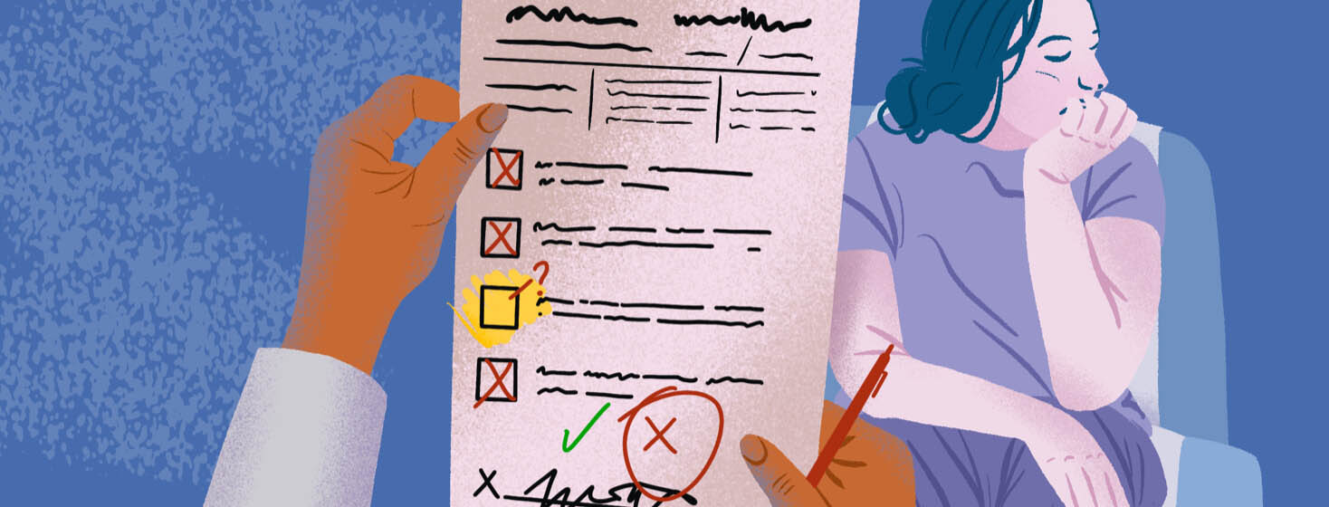 Doctor holds checklist with one check missing resulting in no diagnosis for a defeated looking patient