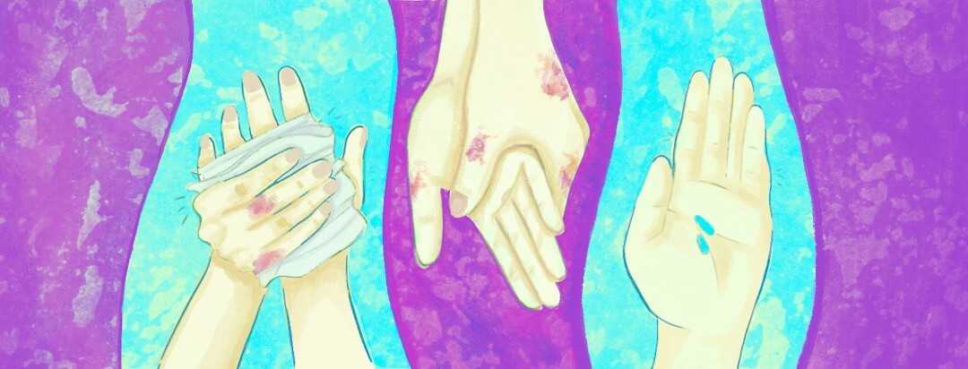 hands being washed and holding pills
