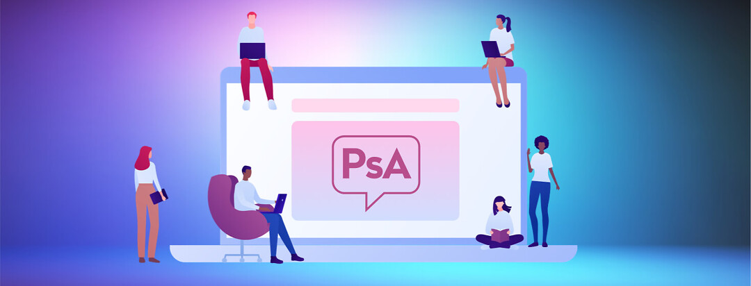Psoriatic arthritis patients gather around a laptop screen to participate in an online community