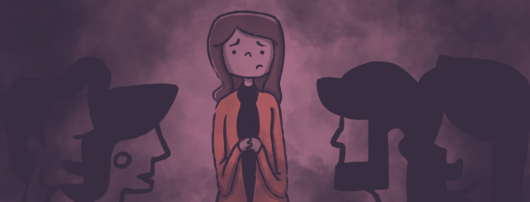 A nervous woman stands at the edge of a conversation between her partner and their parents