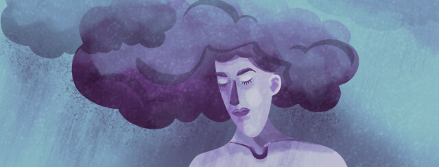 A woman with storm clouds for hair symbolizing her mental health struggles