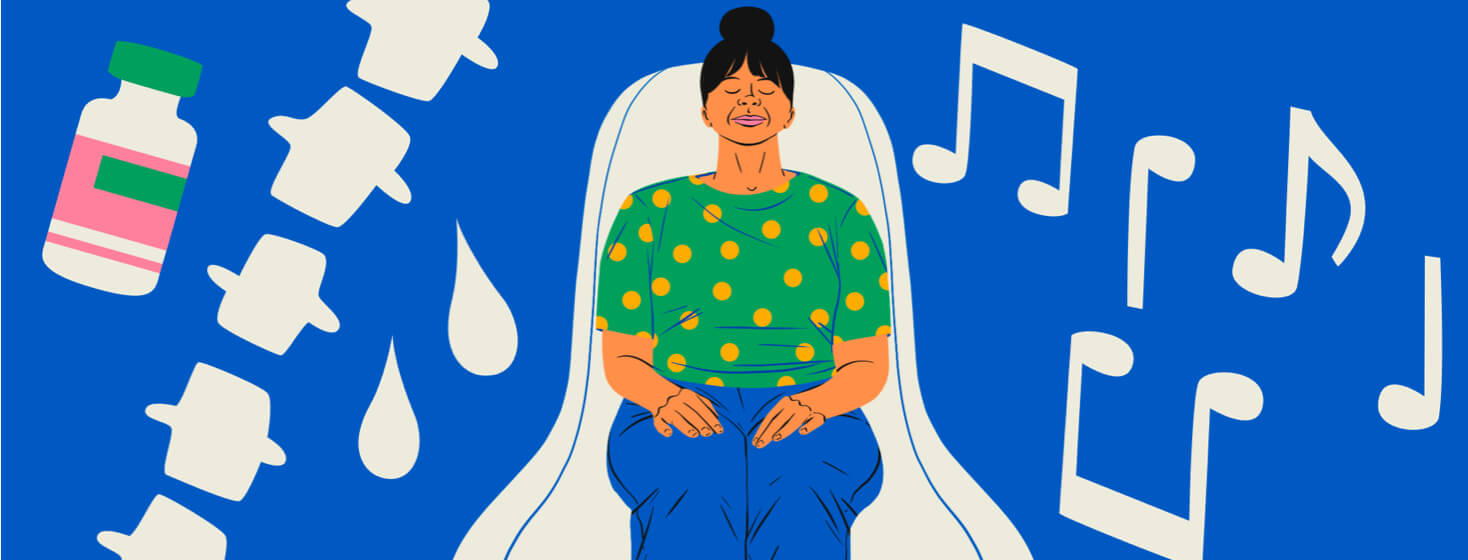 A calm woman sits in a doctor's office with her eyes closed while music notes, a spine, and an injection float around her