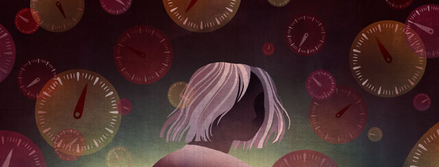 A woman is surrounded by ticking clocks, representing her anxiety about her disease progression