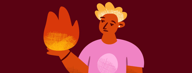 A person contemplating a flame in their hand that represents a flare up